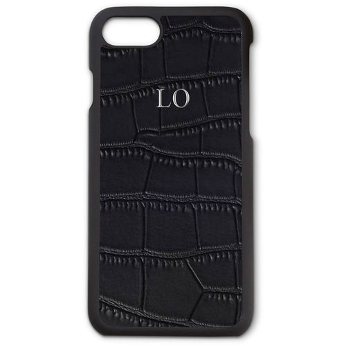 BLACK CROC LEATHER MONOGRAM PHONE CASE