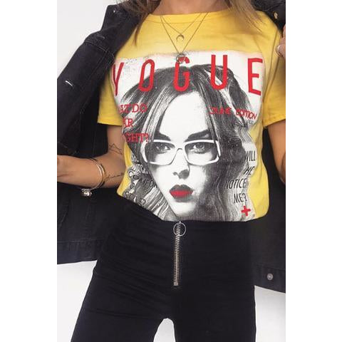 YELLOW VOGUE SLOGAN T-SHIRT