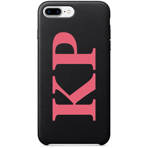 BLACK PU LEATHER MONOGRAM PHONE CASE