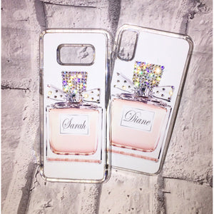 PERSONALISED NAME PERFUME BOTTLE SWAROVSKI CRYSTAL PHONE CASE