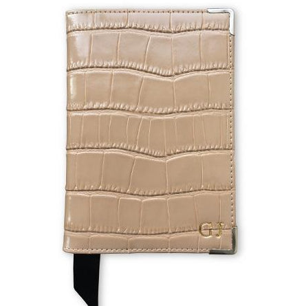 Nude Leather Croc Passport Holder
