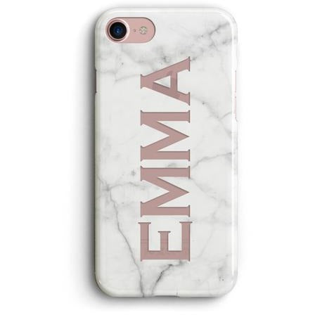 WHITE MARBLE NAME CLEAR PHONE CASE