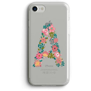 LARGE FLORAL LETTER CLEAR PHONE CASE