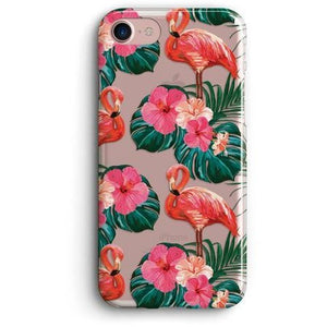 FLAMINGOS AND PALM LEAVES CLEAR PHONE CASE