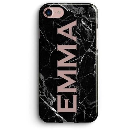 BLACK MARBLE NAME CLEAR PHONE CASE