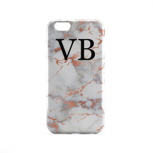 Rose Gold Marble Monogram Phone Case
