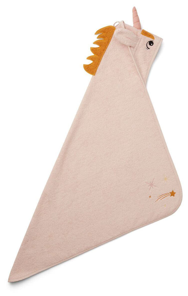 Liewood Albert Baby Towel in Unicorn Sorbet Rose - Scandibørn