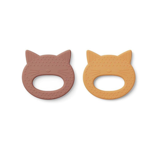 Liewood Geo Teether - Cat Rose / Yellow Mellow (2 pack) - Scandibørn
