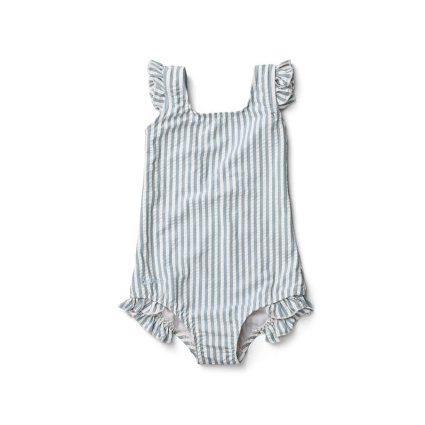 Liewood Tanna Swimsuit Seersucker Sea Blue/White - Scandibørn