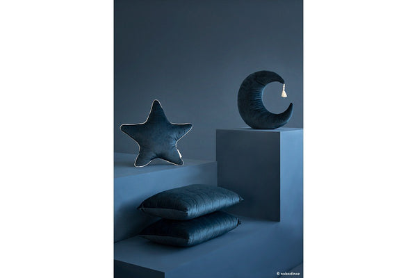 Nobodinoz Aristote Star Velvet Cushion in Night Blue - Scandibørn