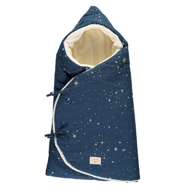 Nobodinoz Cosy Baby Nest Wrap/Bag in Gold Stella Night Blue - Scandibørn