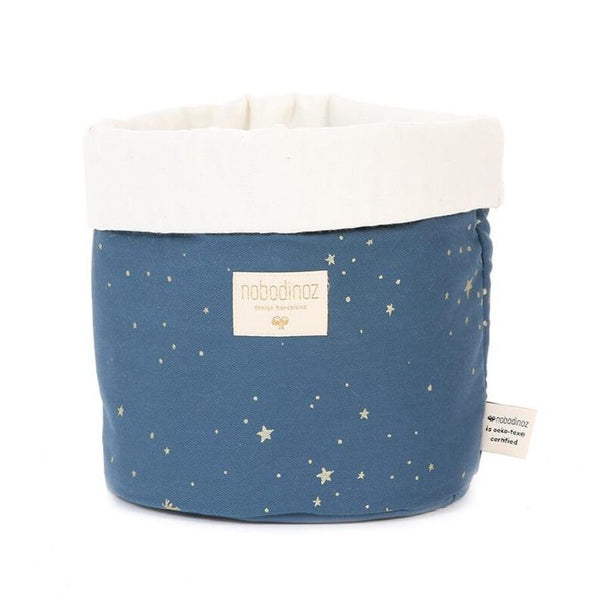 Nobodinoz Panda Fabric Basket Gold Stella / Night Blue (3 Sizes) - Scandibørn