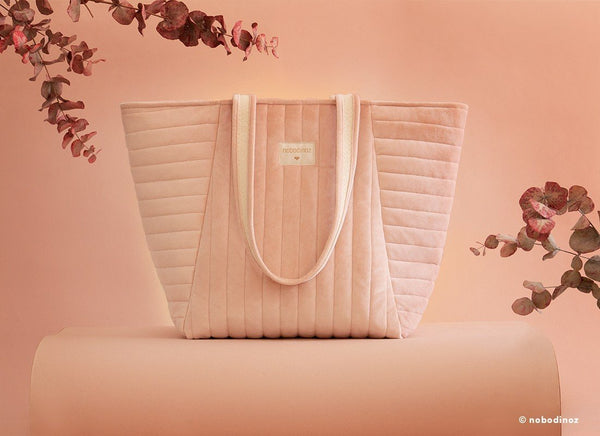 Nobodinoz Savanna Velvet Maternity Bag in Bloom Pink - Scandibørn