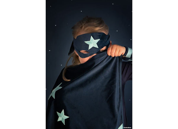 Nobodinoz Superhero costume Eco-Velvet night blue - Scandibørn