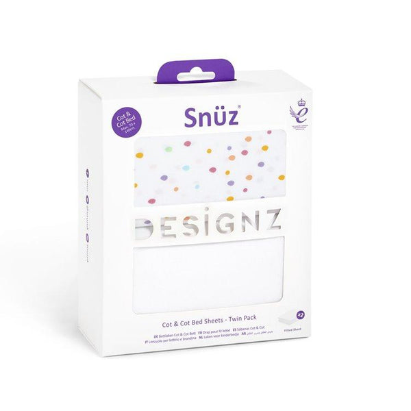 Snüz Cot and Cot Bed 2 Pack Fitted Sheet in Colour Spots - Scandibørn