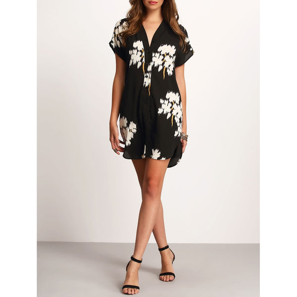 V-neck Floral Print Dolphin Hem Dress - SkyeClothes