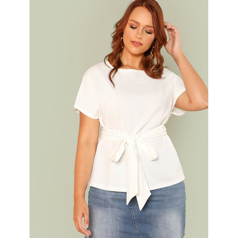 Tie Waist Solid Top - SkyeClothes