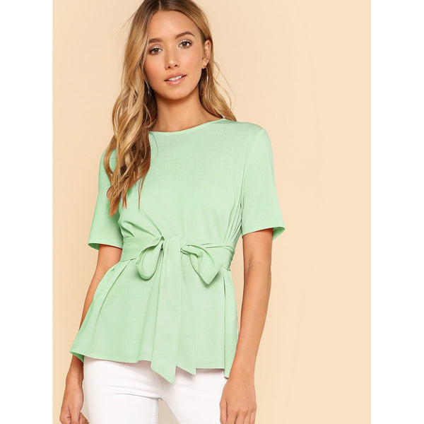 Keyhole Back Belted Top - SkyeClothes