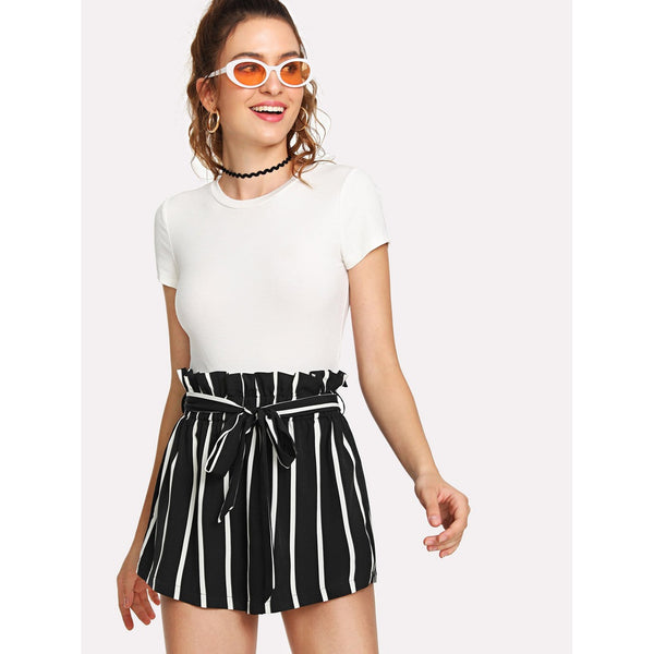 Belted Waist Striped Shorts - SkyeClothes