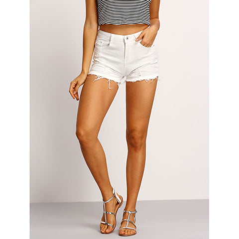 Raw Hem Denim Shorts - SkyeClothes