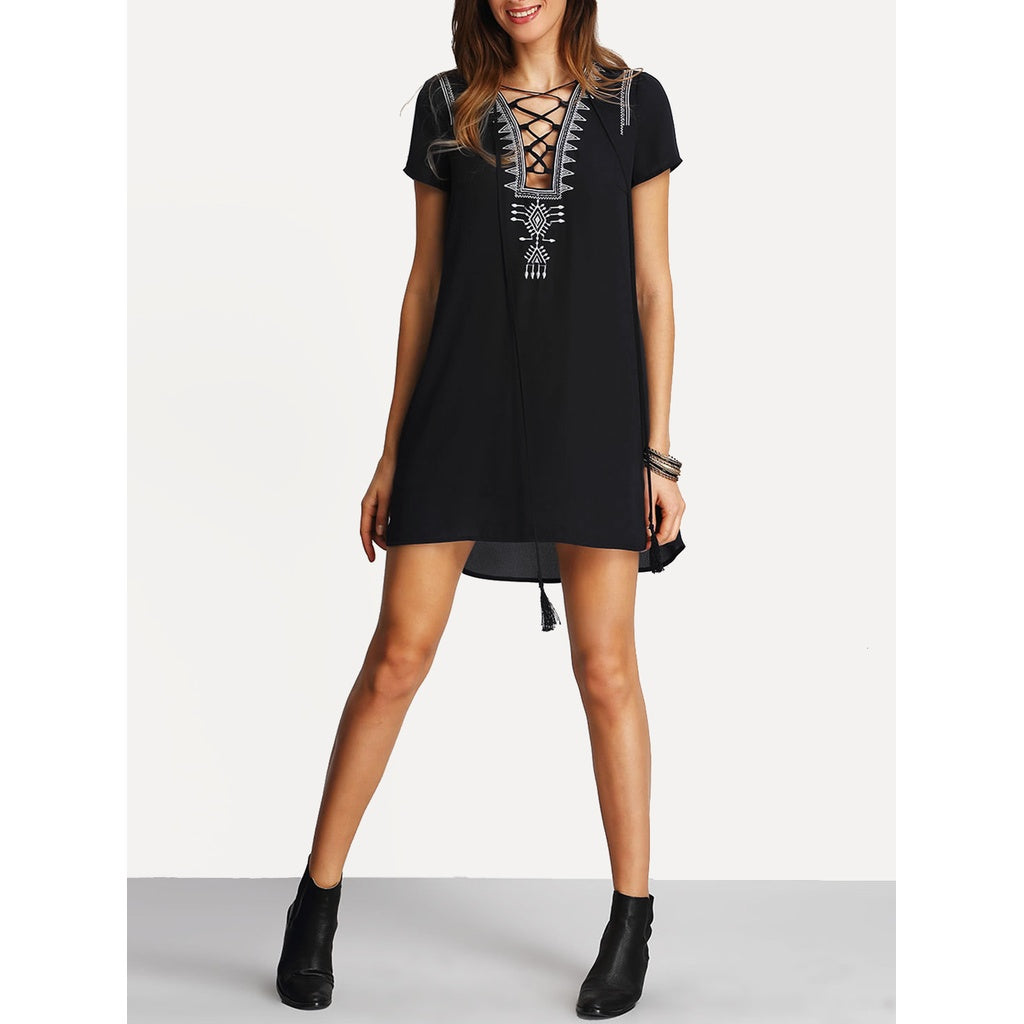 Tasseled Lace Up Embroidered Dress - SkyeClothes