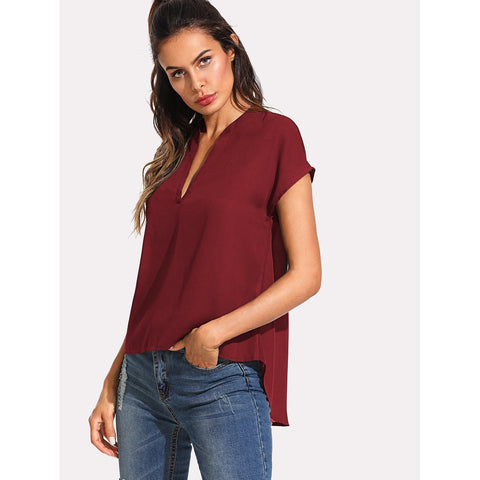 Deep V High Low Top - SkyeClothes