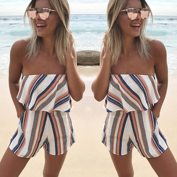 Strapless Striped Romper - SkyeClothes