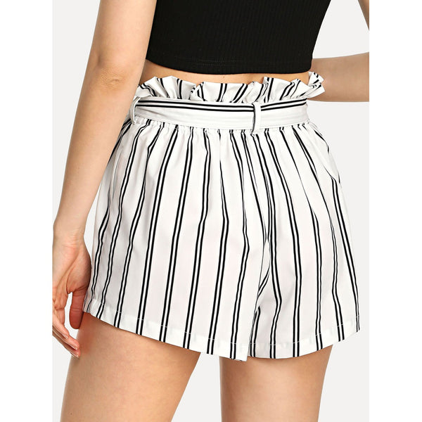 Belted Waist Ruffle Striped Shorts - SkyeClothes