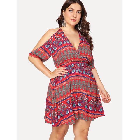 Wrap Front Tribal Dress - SkyeClothes