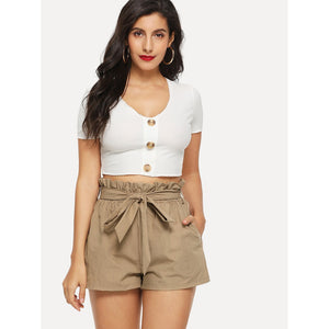 Ruffle Waist Self Belt Shorts - SkyeClothes