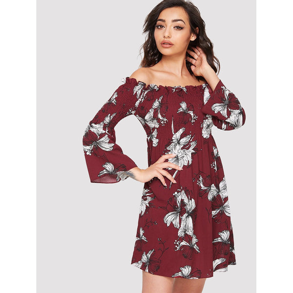 Allover Floral Print Ruched Detail Dress - SkyeClothes