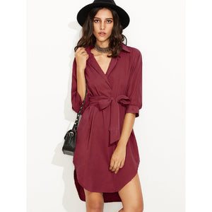 Tie Waist Curved Hem Dress - SkyeClothes