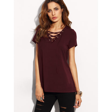 Lace Up Front V Neck Tee - SkyeClothes