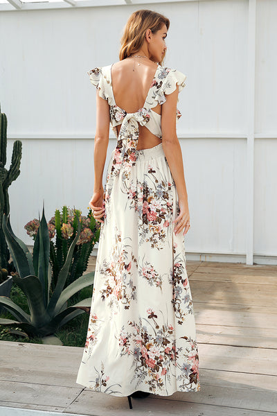 Ruffle V Neck Backless Maxi Dress - SkyeClothes