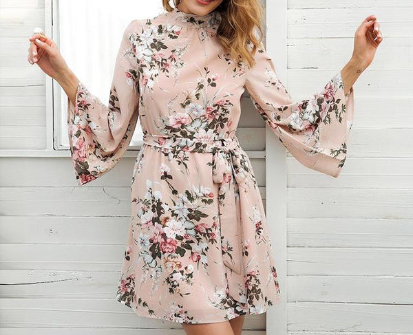 Floral Chiffon Backless Dress - SkyeClothes
