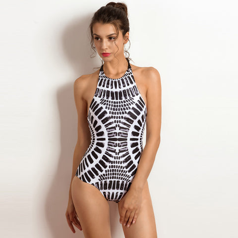 High Neck Lace-up One Piece - SkyeClothes