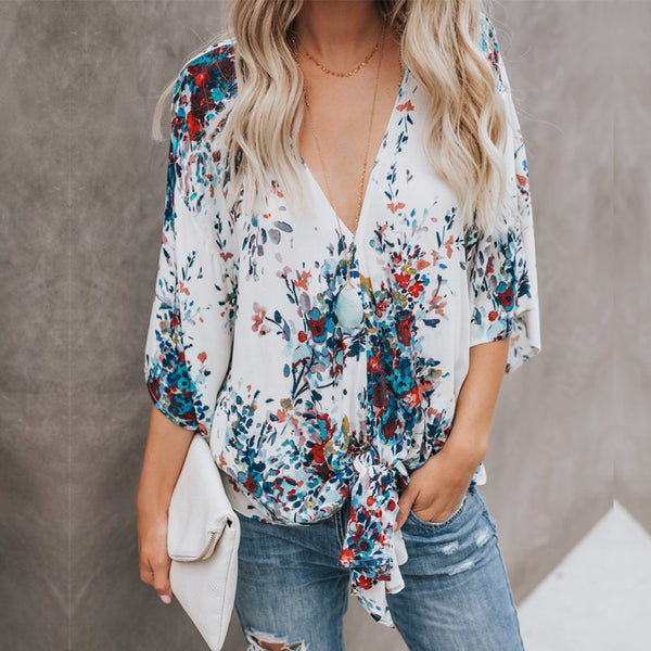 Deep V Chiffon Blouse - SkyeClothes