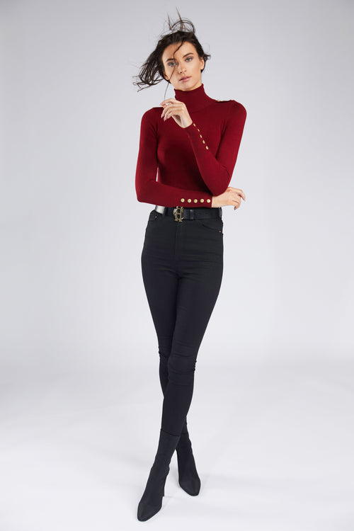 Buttoned Knit Roll Neck (Russet)