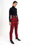 High Waisted Peg Trouser (Red Tartan)
