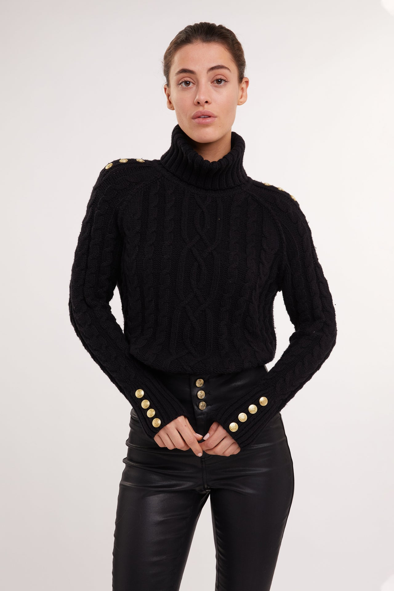 Portland Chunky Cable Jumper (Black)