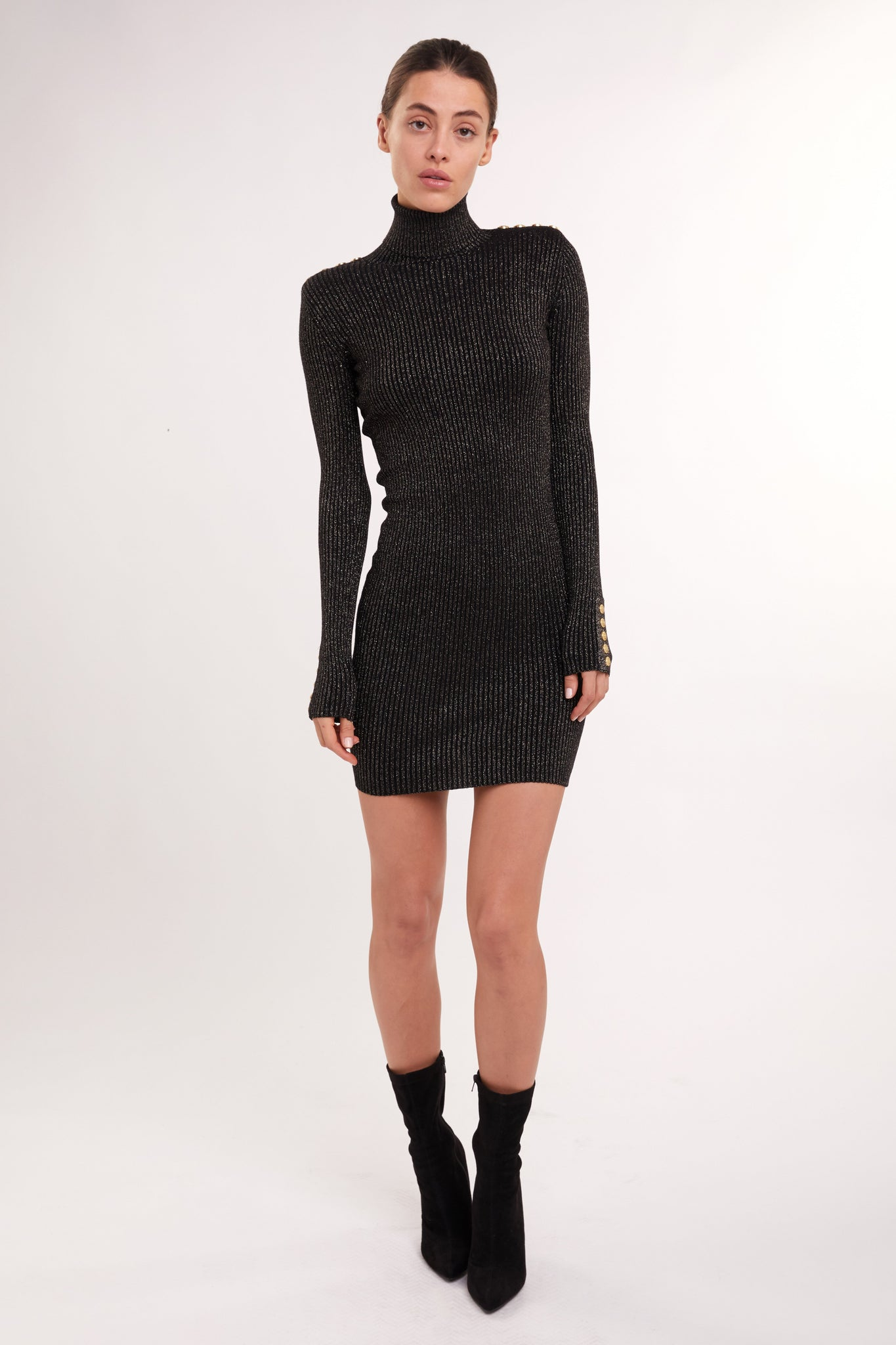 Metallic Roll Neck Jumper Dress (Black)