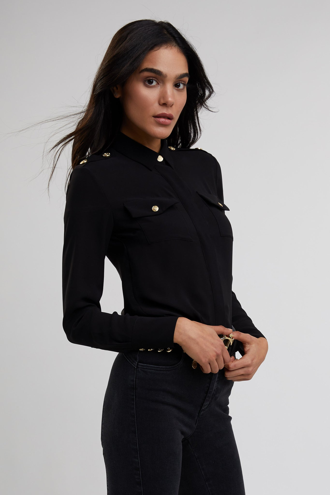 Luxe Cut Out Shirt (Black)