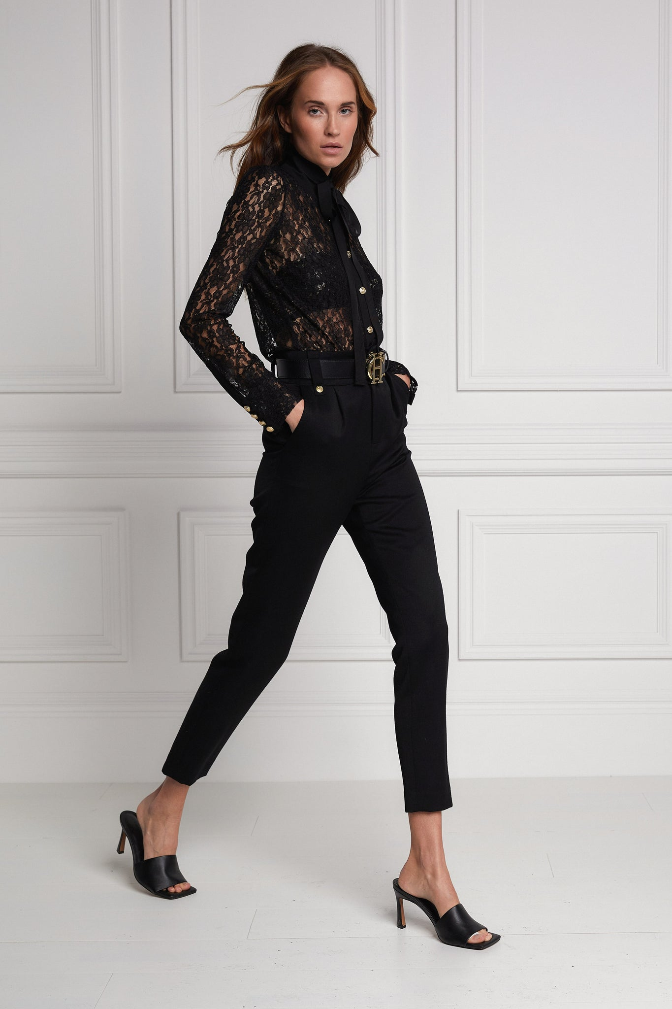 Lacey Tie Shirt (Black)