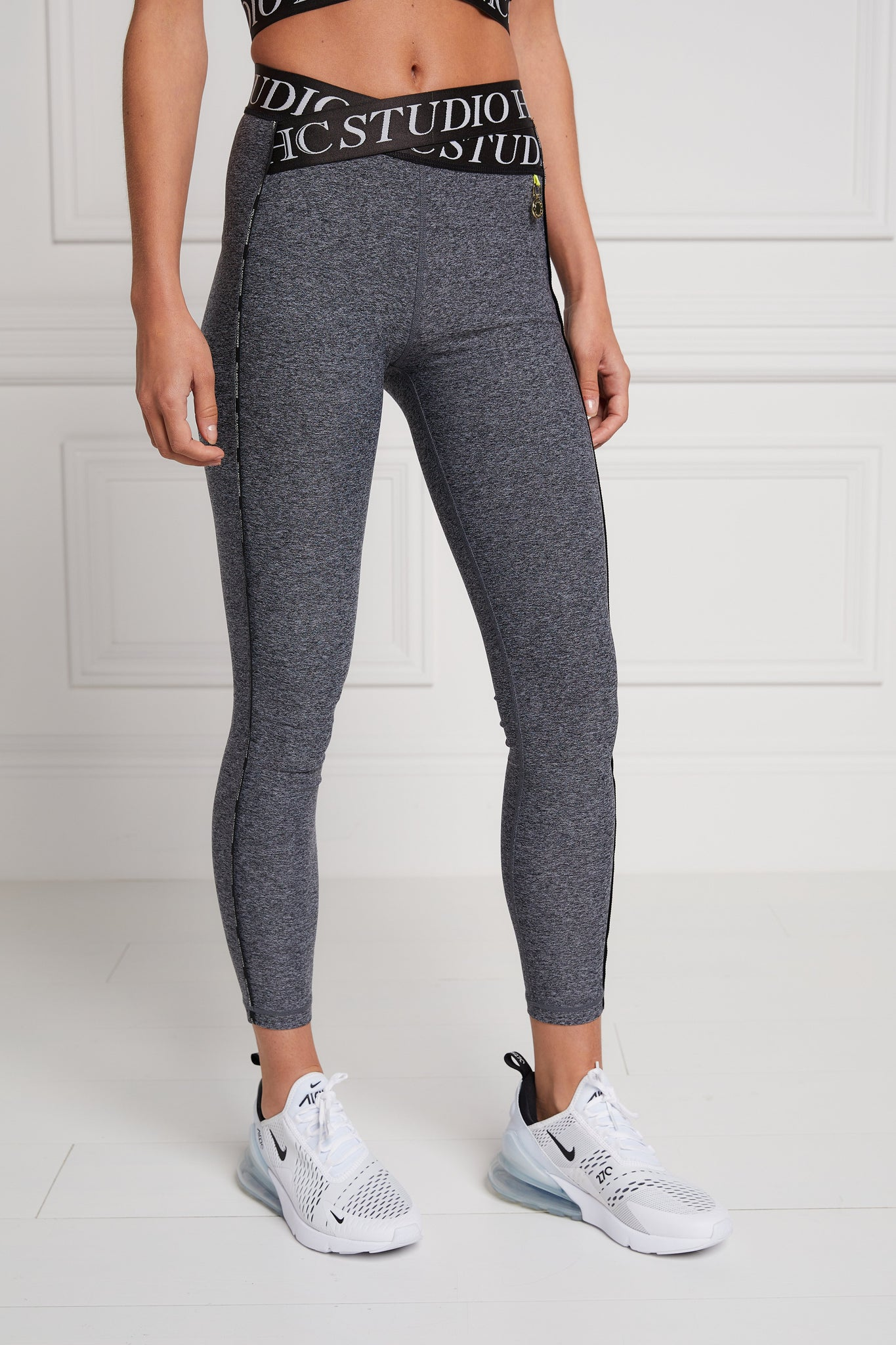 Studio Cross Over Legging (Mid Grey Marl)