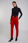 High Waisted Peg Trouser (Red Barathea)