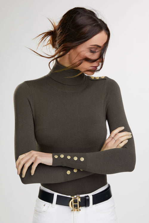 Buttoned Knit Roll Neck (Khaki)