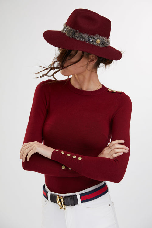 Buttoned Knit Crew Neck (Russet)