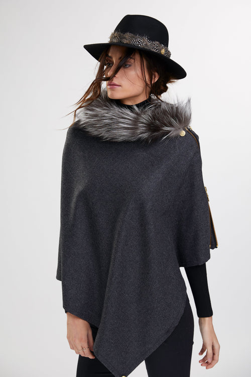 Tweed and Fur Wrap (Charcoal/Silver)