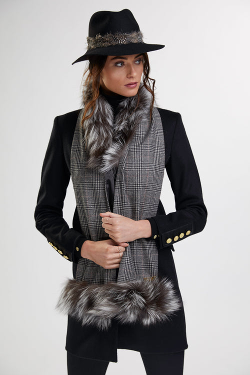Gold Label Cashmere Blend Scarf  (Black Prince of Wales Check/Silver)