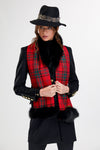 Tweed and Fur Scarf (Tartan/Black)